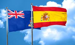 cayman islands flag with Spain flag, 3D rendering - stock illustration