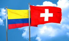 Colombia flag with Switzerland flag, 3D rendering - stock illustration