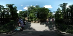 360Vr Video People in Alley of Park Zoo Excursion in Opole Dad Have Got to Hold - stock footage
