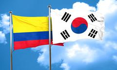 Colombia flag with South Korea flag, 3D rendering - stock illustration