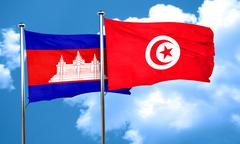 Cambodia flag with Tunisia flag, 3D rendering - stock illustration