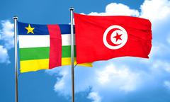 Central african republic flag with Tunisia flag, 3D rendering - stock illustration