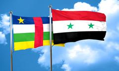 Central african republic flag with Syria flag, 3D rendering Stock Illustration