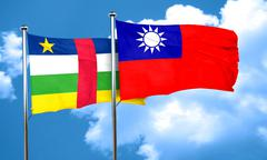 Central african republic flag with Taiwan flag, 3D rendering Stock Illustration