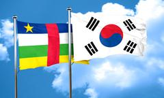 Central african republic flag with South Korea flag, 3D renderin - stock illustration