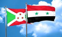 Burundi flag with Syria flag, 3D rendering Piirros
