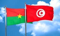 Burkina Faso flag with Tunisia flag, 3D rendering - stock illustration