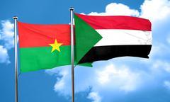 Burkina Faso flag with Sudan flag, 3D rendering Stock Illustration