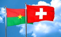 Burkina Faso flag with Switzerland flag, 3D rendering Stock Illustration