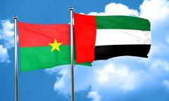 Burkina Faso flag with UAE flag, 3D rendering Stock Illustration