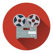 Reel tape recorder icon - stock illustration