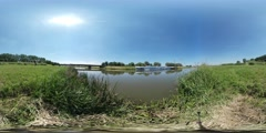 360Vr Video View on the Small River Low Reed at the Bank of the River Spherical Stock Footage