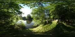 360Vr Video Nice View on the Backwater or Pond the City Park Spherical Panorama Stock Footage