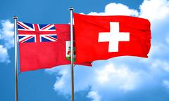 Bermuda flag with Switzerland flag, 3D rendering Stock Illustration