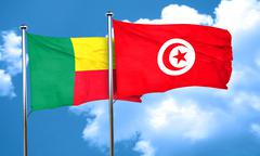 Benin flag with Tunisia flag, 3D rendering - stock illustration