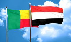 Benin flag with Yemen flag, 3D rendering - stock illustration
