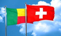 Benin flag with Switzerland flag, 3D rendering Stock Illustration