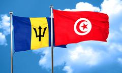 Barbados flag with Tunisia flag, 3D rendering Stock Illustration