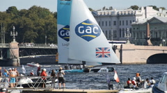 Extreme Sailing Series in St. Petersburg, Russia Stock Footage