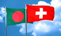 Bangladesh flag with Switzerland flag, 3D rendering - stock illustration
