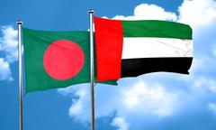 Bangladesh flag with UAE flag, 3D rendering - stock illustration