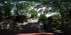 360Vr Video Family Dad Taking Video Excursion Zoo Opole Kid Walking Along Man Stock Footage