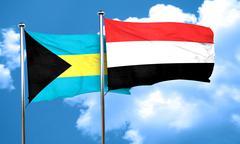 Bahamas flag with Yemen flag, 3D rendering - stock illustration