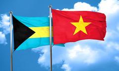 Bahamas flag with Vietnam flag, 3D rendering Stock Illustration