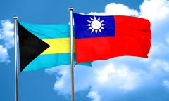 Bahamas flag with Taiwan flag, 3D rendering Stock Illustration