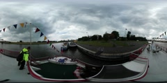 360Vr Video Leisure Boat Getting Closer to Bank Children Are Traveling by Odra Stock Footage