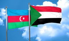 Azerbaijan flag with Sudan flag, 3D rendering - stock illustration