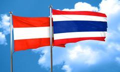 Austria flag with Thailand flag, 3D rendering - stock illustration