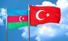 Azerbaijan flag with Turkey flag, 3D rendering - stock illustration