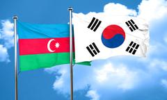 Azerbaijan flag with South Korea flag, 3D rendering - stock illustration