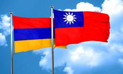 Armenia flag with Taiwan flag, 3D rendering - stock illustration