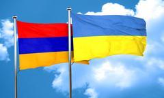 Armenia flag with Ukraine flag, 3D rendering Stock Illustration