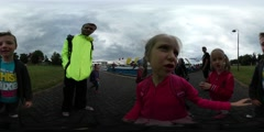 360Vr Video Children's Day Opole Kids Make Faces in Front of Camera Traveling Stock Footage