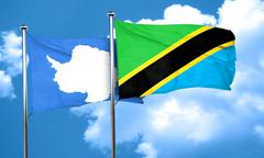 antarctica flag with Tanzania flag, 3D rendering - stock illustration