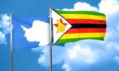 antarctica flag with Zimbabwe flag, 3D rendering - stock illustration