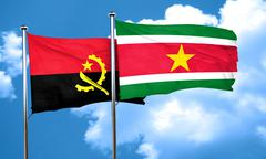 Angola flag with Suriname flag, 3D rendering Stock Illustration