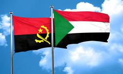 Angola flag with Sudan flag, 3D rendering Stock Illustration