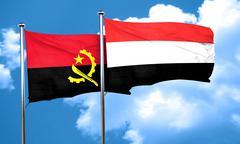 Angola flag with Yemen flag, 3D rendering - stock illustration