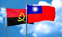 Angola flag with Taiwan flag, 3D rendering Stock Illustration