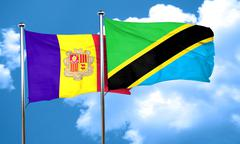 Andorra flag with Tanzania flag, 3D rendering - stock illustration