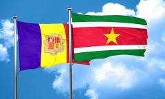 Andorra flag with Suriname flag, 3D rendering Stock Illustration