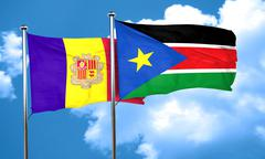 Andorra flag with South Sudan flag, 3D rendering - stock illustration