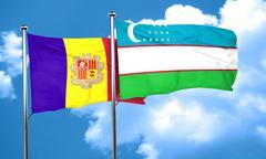 Andorra flag with Uzbekistan flag, 3D rendering Stock Illustration