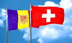 Andorra flag with Switzerland flag, 3D rendering Stock Illustration