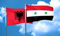 Albania flag with Syria flag, 3D rendering - stock illustration
