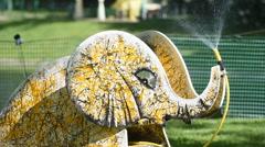 Watering installation Seven Elephants in the Mikhailovsky Garden Stock Footage